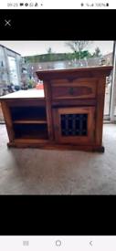 Mango wood cupboard.Solid wood.Collect hatherley cheltenham £40