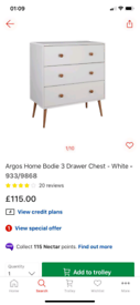 Bodie 3 Drawer elegant Chest only £75. Real Bargains Clearance