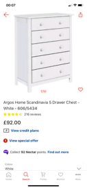 White 5 Drawers Storage Chest £55. Real Bargains Clearance Outlet Leic
