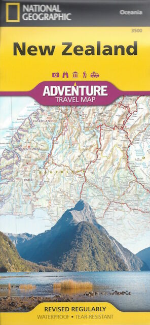 National Geographic New Zealand Travel Map *FREE SHIPPING - NEW*
