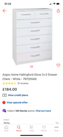 Hallingford white Gloss 7 Drawers Chest storage £110. Real Bargains CL