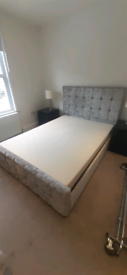 Double storage bed with memory foam mattress and headboard