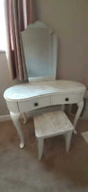Wrapped marble top dressing table with mirror and stool
