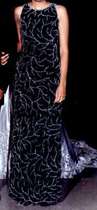 Navy Blue Beaded Dress for Grad / Wedding / Formal Party