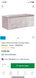 Kourtney crushed velvet silver ottoman storage box only £65. New