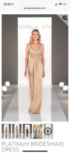 Sorella Vita Bridesmaid Dress. Gold sequin.