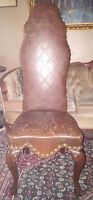 Antique Leather & Brass Button Hall Chair.