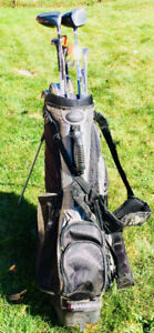 RH Spalding executor golf clubs and Adams golf bag