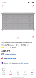 Heathland 8 Drawers grey storage chest £165. Real Bargains Clearance O
