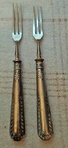 PAIR Solid Silver  Cocktail forks