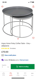 Finley Nest of 2 Grey Coffee Tables only £40. Real Bargains Clearance