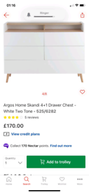 Skandi 2 Tone. 4 + 1 Drawers Chest £110. Real Bargains Clearance Outle