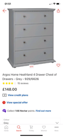 Heathland grey 4 Drawers Chest £90. Real Bargains Clearance Outlet Lei