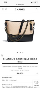 Chanel Gabrielle Hobo Two Tone Small $4,500