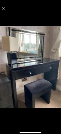 Black Glass dressing table with stool