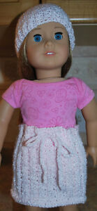 AMERICAN GIRL DOLL HAND KNIT SKIRT AND HAT