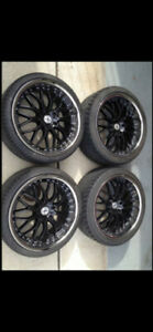 19in HP Racing Rims 5X112 & Tires 245/35/19 (1 MONTH USAGE)
