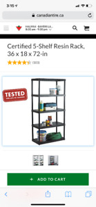 5-Shelf Resin Rack storage shelving unit