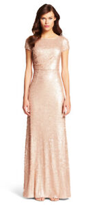 Adrianna Papell Rose Gold Sequin Dress - Worn once!