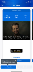 120$ for 2 tickets LUKE BRYAN @ Darling's BANGOR