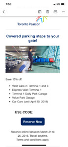 Toronto Pearson Parking 15% OFF for $5