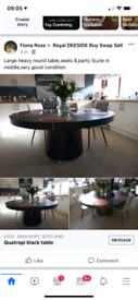Large solid dining table,black with glass revolving middle