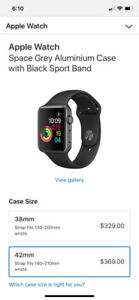 NEW APPLE WATCH SERIES 1 - 42MM WITH BLACK BAND IN BOX