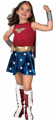 GIRLS WONDER WOMAN 6 PC COSTUME DRESS CAPE BOOT RU82312