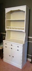 $ 90 White hardwood dresser with a matching hutch- exc