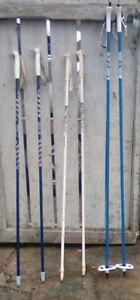 5 Pairs of Cross-country Ski Poles: Swix, Exel, Gabel 125-145 cm