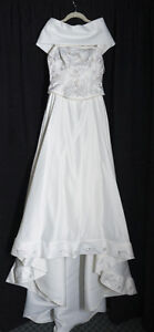 Ivory satin embroidered wedding gown