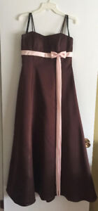 Alfred Angelo, brown/pink, ankle-length formal dress (size 12)