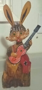 Vintage Old Russian Soviet Carved Wooden Figure Rabbit w/Guitar