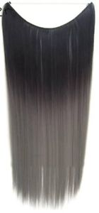 "~~ NEW, 22"" BLACK & GREY OMBRE, HALO HAIR EXTENSION ~~~"