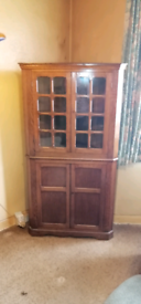Corner display cabinet/cupboard two parts possibly ercol.