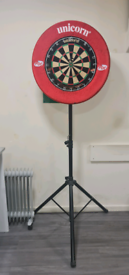 Dart board, surround and stand