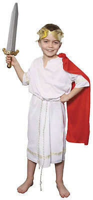 BOYS ROMAN EMPEROR GREEK TOGA FANCY DRESS COSTUME