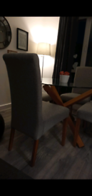 Oak and glass round dining table and 4 grey chairs