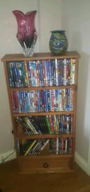 Pine DVD storage unit with drawer