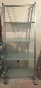 Contemporary tempered glass bookcase