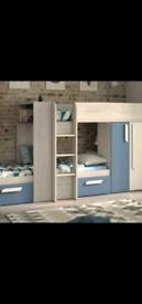 Bunk bed cupboard solid wood great storage