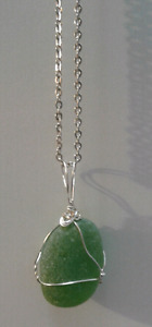 Sea Glass   Necklace  Ocean Tumbled   Silver Plated Wire-Wrapped