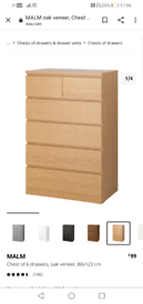 Ikea malm chest of drawers local delivery available today