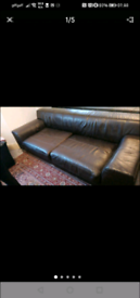 Brown big leather sofa