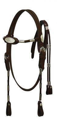 Dark Brown Leather Western Bridle w/Silver Ferrules & Split Reins Horse Size
