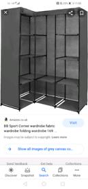 Grey corner canvas wardrobe boxed unopened