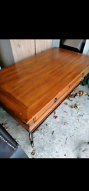 Cast iron and solid wood table