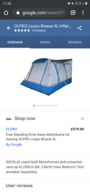 Olpro loopo breeze xl inflatable campervan awning