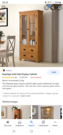 solid oak dresser coffee table glass display shelves
