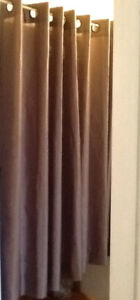 TAUPE or BROWN PANELS, GREEN CURTAINS, MAUVE VALANCES  2 TAUPE G